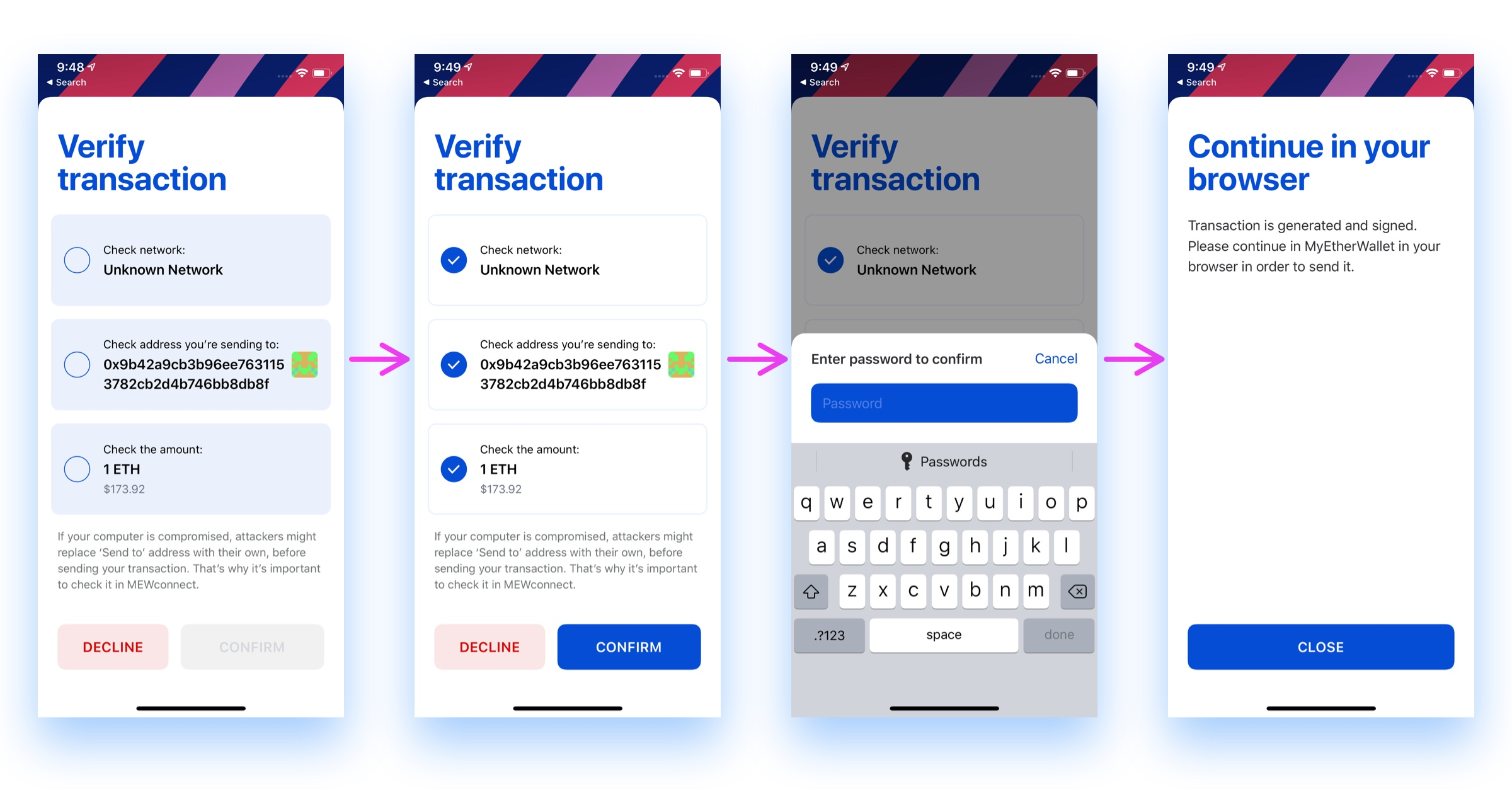 MEWconnect verify and sign-transaction iOS app screen shots
