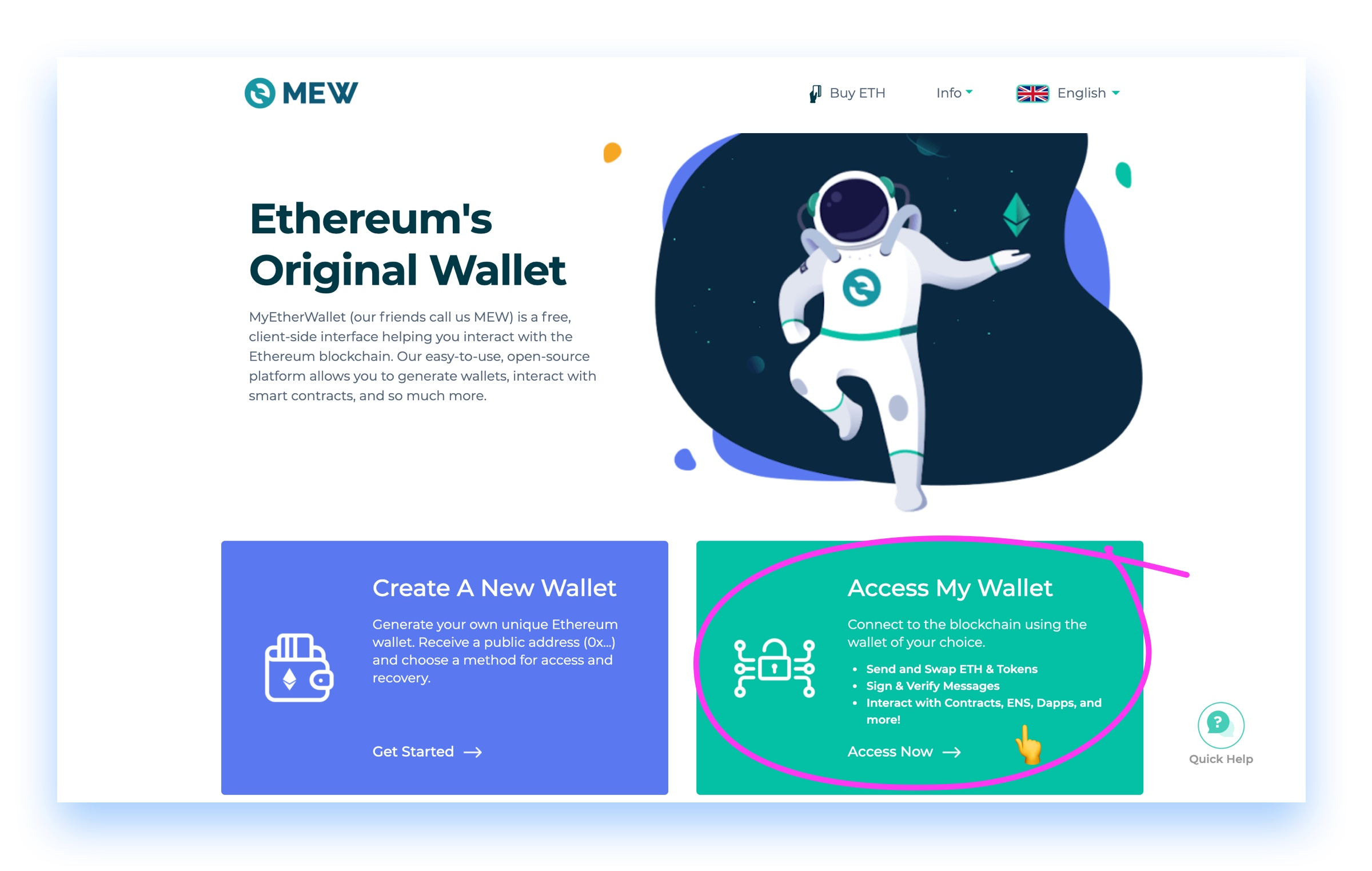 Screen shot of MyEtherWallet MEW homepage July2020