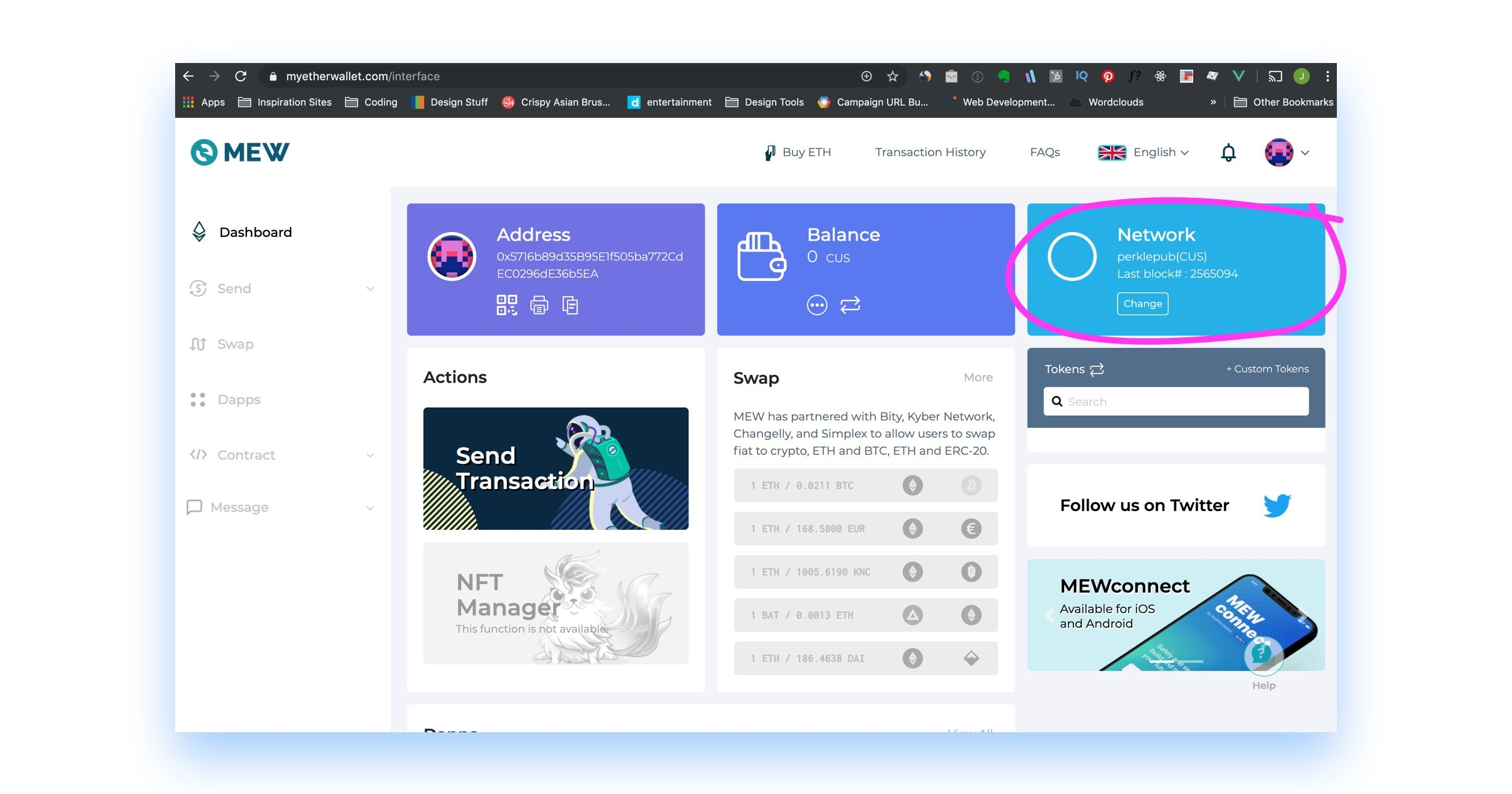 screen shot of MyEtherWallet dashboard connected to Perkle blockchain