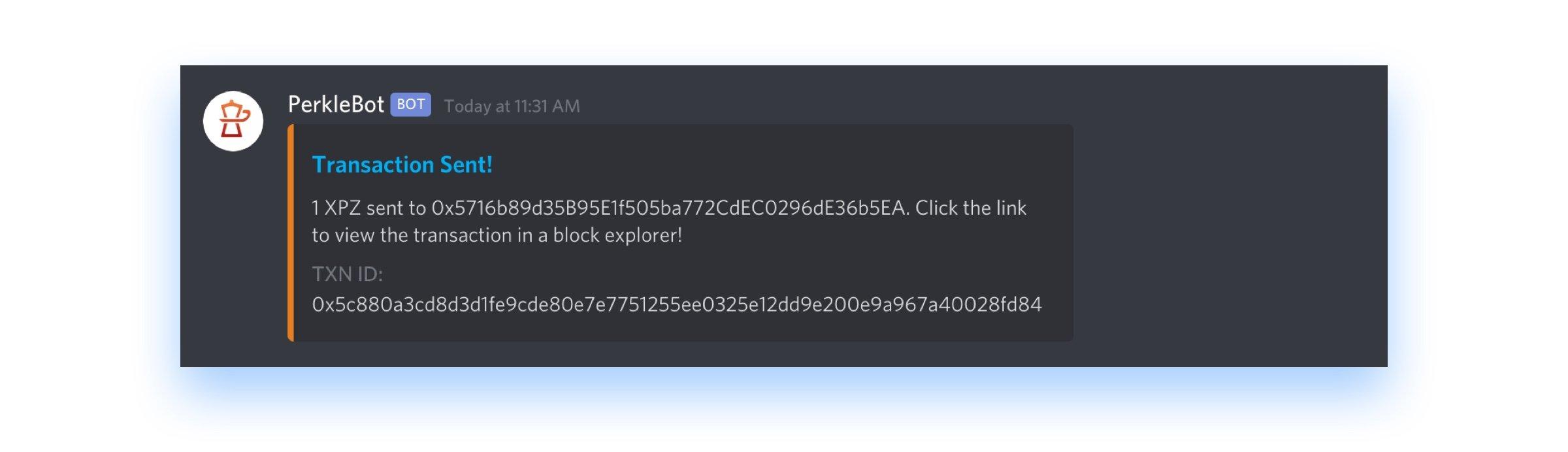 Esprezzo Discord PerkleBot transaction confirmation message