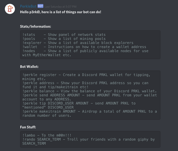 PerkleBot for Discord commands screenshot