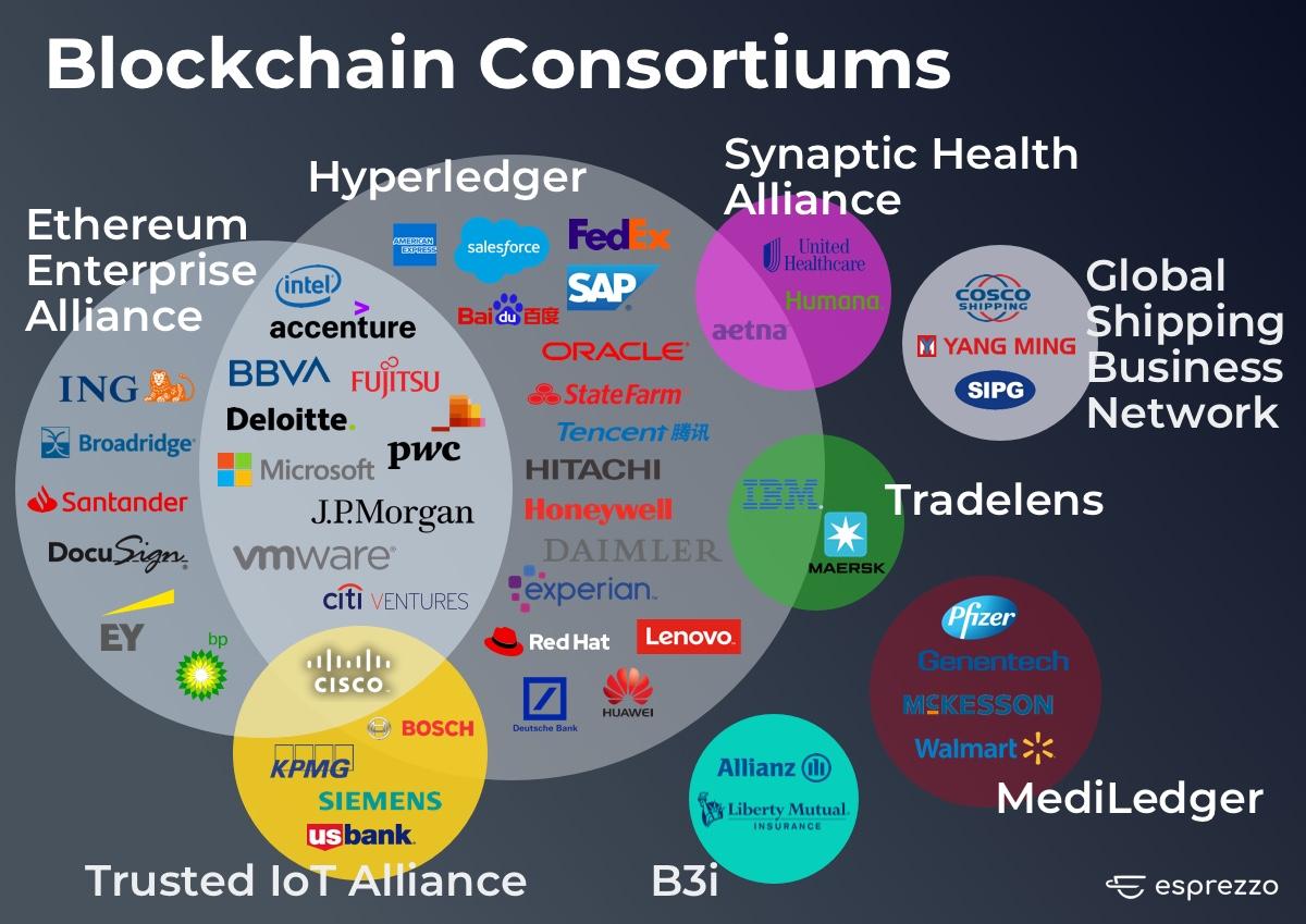 blockchain consortiums infographic by Esprezzo2